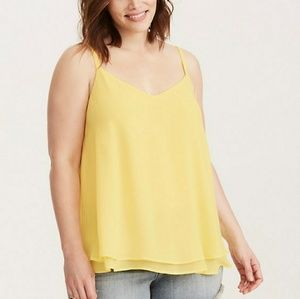 Torrid chiffon double layer yellow tank top 3 3x